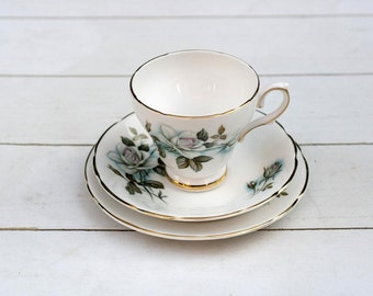 Vintage English Teacup and Saucer Trio Set - Winter Rose- English Porcelain Teacup Rose Tea cup saucer and dessert plate- mid century teacup