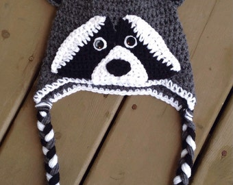 Raccoon Animal Hat, Infant Crochet Hat, Baby Photo Prop, Character Hat, Hats For Kids, Newborn Hat