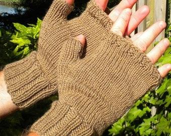 Fingerless Gloves Men's Fingerless Gloves Handknit Light Brown Merino Wool Men's Fingerless Gloves Camel Brown Handwarmers Tan Wool Gloves