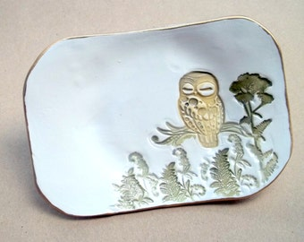 Owl Soap Dish or Trinket  Dish OFF WHITE