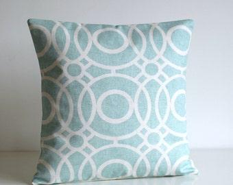 Circle Pillow Cover, Aqua Cushion Cover, Cotton Pillow Sham, pillow case, cotton pillow, accent pillow covers - Trellis Circles Aqua