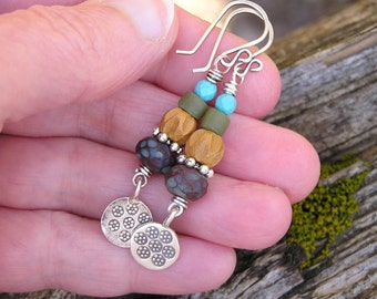 earthy bohemian dangle earrings with hill tribe silver, carved sandalwood beads, picasso czech glass, and turquoise gemstones. boho hippie.