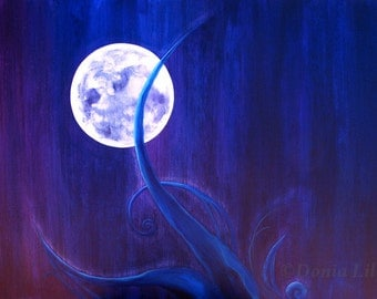 "Purple Moon: indigo, blue, turquoise, white art metal print of lunar painting by Kauai, Hawaii fine artist Donia Lilly ""Selene's Garden"""