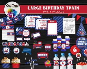 Large Birthday Train Party Package Set - Printable - DIY - Invitation Included - 25 Items