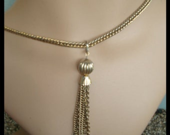 Vintage VTG Gold Tone Tassel Necklace