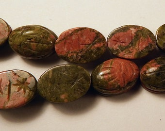 Unakite Carved Scarab Oval Beads