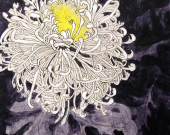 Original Acrylic Painting of a White Chrysanthemum on a Purple Background