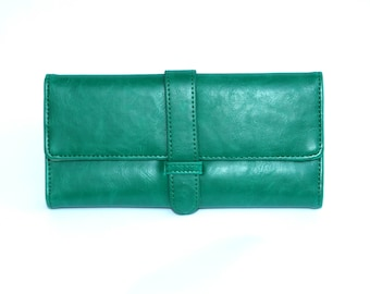 Women's Green Leather Wallet, Women's Green Leather Purse, Leather Wallet, Leather Purse, Green wallet, Green Purse , Womens wallet