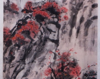 Original chinese landscape ink painting, chinese art, mounted chinese brush painting- autumn