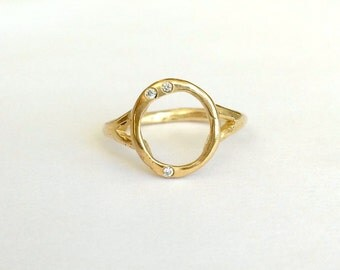 Orbit Ring 14K Yellow Gold and Diamond Ring
