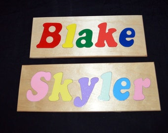 Handcrafted wooden name puzzle, upper/lower case