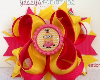 Minion inspired boutique hair bow