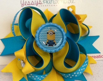 Minion inspired boutique hair bow!!