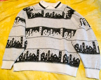 Vintage Sparkle Skyline Garland Sweater with Collar, Fits Like a Large