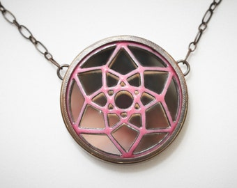 Made-To-Order Pink dreamcatcher enamel on copper pendant handmade