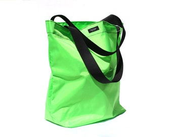 Neon Green Basic Market Tote made from 100% Nylon --durable, lightweight, water-resistant, washable.