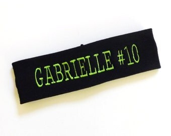 Name and Number Headband - Pick Headband Color and Thread Color