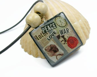 Peace, Love And War Vintage Style Collage Art Pendant Necklace