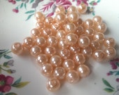 50 pcs Peach Glass Pearl Beads 8mm
