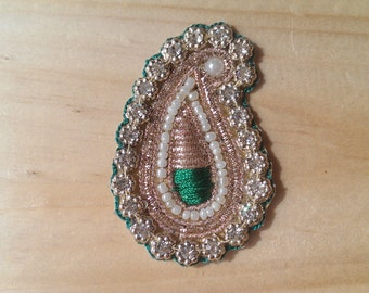 Handmade Gold & Green Indian Paisley Applique 60mm/2.3 inches