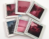 Mini Notebooks - Large Format Vintage Photo Slides - Recycled Spiral Notebook - Tiny Journals - Bulk lot