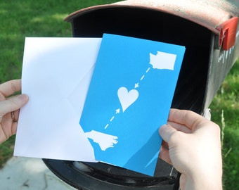 Long Distance Relationship Map Card Custom Made with Your Two States