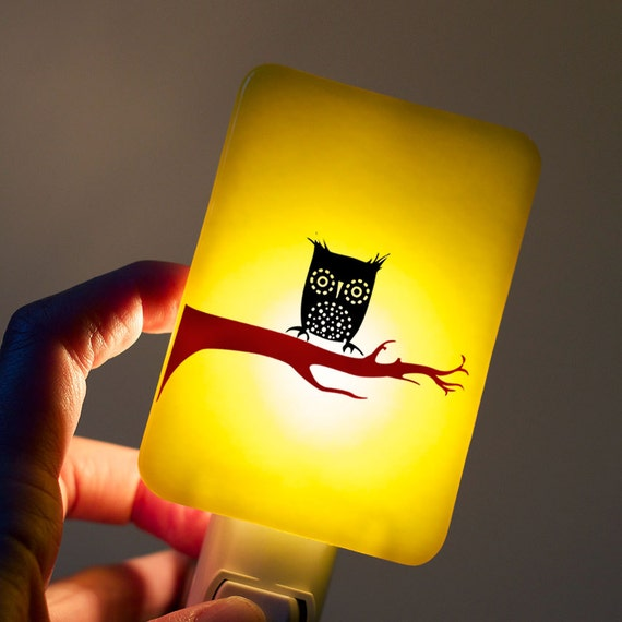 Owl Night light on Yellow Fused Glass Night Light - Gift for Baby Shower or Nature Lover - Night Owl - Summer Colors