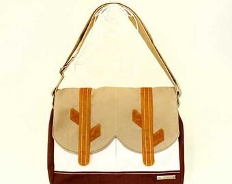 SALE - Messenger Bag - In The Woods ( Beige Cream Brown )