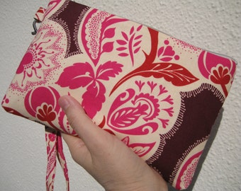 Wedding Clutch 2 pockets,medium,pink, wristlet, cotton zipper pouch wallet wristlet - Flourish in cherry