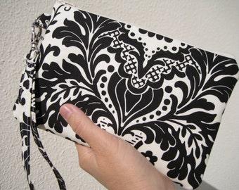 Wedding Clutch 2 pockets,medium,black,discount plan set, wristlet, cotton -Damask in black