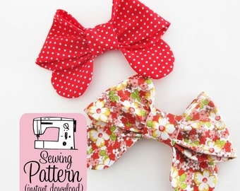 Bows PDF Sewing Pattern | Make a medium size fabric bow to use as a bow tie, hair bow, pet collar bow, or bag embellishment.