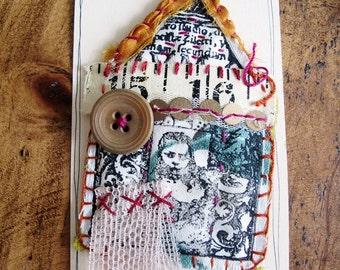 Fabric Scrappy House Brooch - No. 15/16