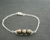 Peapod bracelet. Peas in a pod with bronze forest green freshwater pearls. Mothers day gift Peapod jewelry