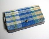 Medium Pouch - Handwoven Blue/Gray/Yellow