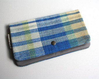 Medium Pouch - Handwoven Blue/Gray/Yellow