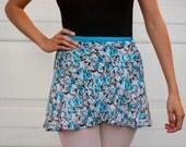 Blue Floral Print Chiffon Ballet Wrap Skirt