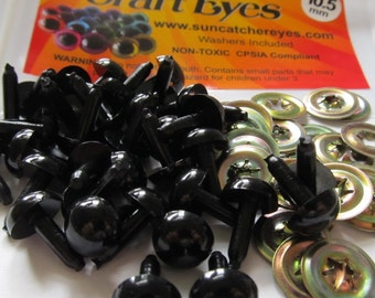 5 Pair of 7.5mm Black Craft Eyes with washers