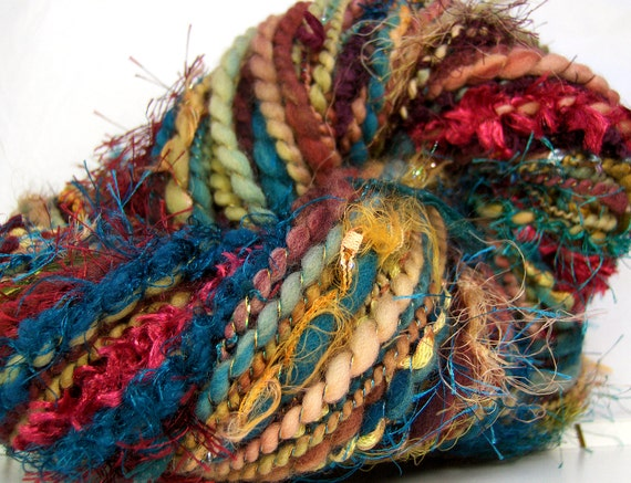 Handspun Art Yarn bulky merino wool yarn Plum Honey 38 yards Kitty Grrlz FunctionArt Art Yarn