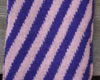 Felted Scarf with Diagonal Stripes in Lilac & Purple - Geelong Lambswool