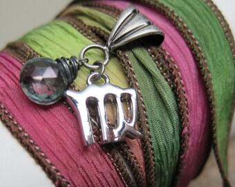 Starsign Virgo Bracelet  ... antique silver zodiac silk wrap bracelet with gemstone