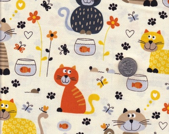 Fat quarter - Cream Cats and Fishbowls - Timeless Treasures cotton quilt fabric