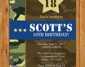 Camouflage Birthday Invite Green Brown Camo Military theme Teen Teenage Boy Adult Invitation Boot Camp Party Printable 5x7 JPG (226)