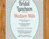 Bridal Luncheon Invitation Triangles Geometric Turquoise Coral Grey Printable Shower Birthday Baby Invite Digital JPG 5x7 (284)