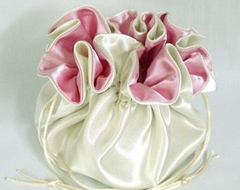 Wedding Bag Satin Bridal Money Purse Ivory and Pink No Pockets
