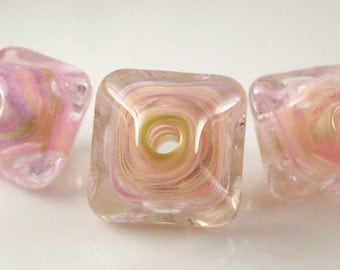 Cherry Blossom Swirls -  Chunky Crystals Trio Handmade Artisan Lampwork Glass Beads 18mm and 14mm - Pink, Pastels - SRA (Set of 3 Beads)