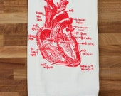 Anatomical heart diagram tea towel - white cotton floursack kitchen towel