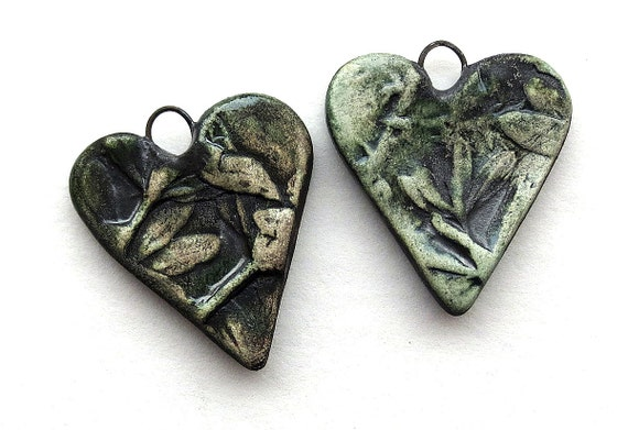 A Pair of Heart Pendants  Grunge Green and Dark Metallic Green   Leaf Pattern