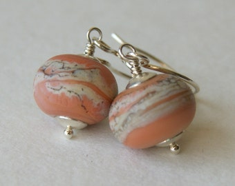 Coral Glass Swirl Earrings - Lampwork Bead Earrings - glass earrings - lampwork glass bead earrings - sterling silver