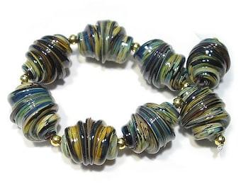 Raku  Whirled  Handmade Glass Lampwork Beads