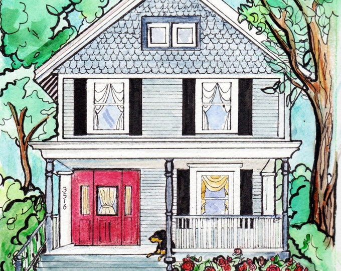 """Custom Home Portrait, 11"""" x 14"""", with Pets, by me, Artist Robin Zebley, Great Christmas Gift Idea"""